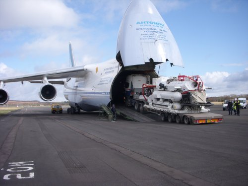 Logistics, Logistics, Logistics. SRV and trailer embarking Antonov AN-124, Prestwick.